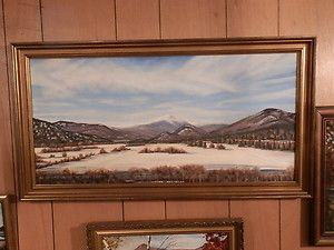 Large Panoramic Oil Painting Mt Washington Valley North Conway NH