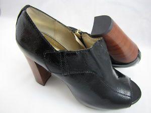 Michael Kors Chatom Bootlet Black Patent Heels 8 5