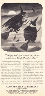 1945 Charles Addams Flying Witches Art Rand McNally Ad