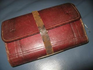 Antique Victorian Leather Fly Fishing Wallet Casts Flies Permission