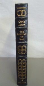 of The Species Descent of Man Charles Darwin Leather Book