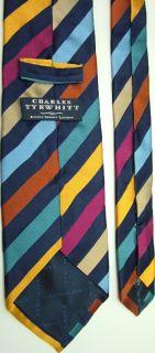 Charles Tyrwhitt Stripe Magenta Blue Tan Silk Neck Tie