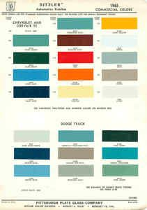 1965 Chevrolet Dodge Truck Paint Color Chart PPG 65