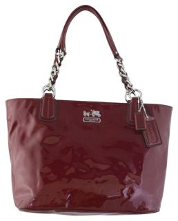 Coach Chelsea Patent Leather East West Tote Wine Handbag New