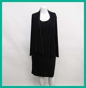 Chadwicks Womans Black 2pc Sleeveless Dress Long Sleeve Top Rtl $69