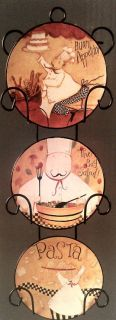 Fat Chef French Italian Bistro Wall Plates Decor 3 Pasta Kitchen Decor