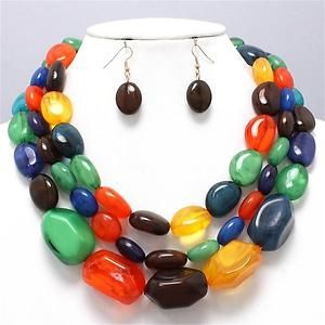Chunky Colorful Beaded Gold Chain Earring Necklace Set Fashion Costume