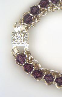 Silver Chain Maille Designer Bracelet Austrian Crystals