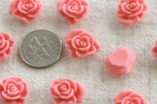 12pc Acrylic Lucite Cherry Blossom Pink Flower Cabochon Bead