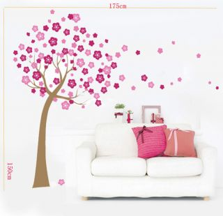 Huge Pink Cherry Blossom Flowers Tree Wall Stickers Art Mural Children