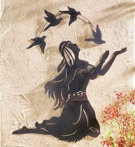 Rustic Native American Indian Woman Bird Chenoa Metal Wall Art Decor