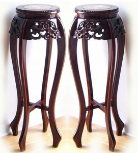 Pair Cherry Carved Wood Marble Top Plant Stands 36 New