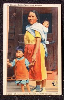 Indian Woman Papoose Cherokee Indian Reservation NC PC