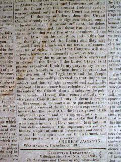Orig 1831 Newspaper Cherokee Indian Removal Policy Trail of Tears