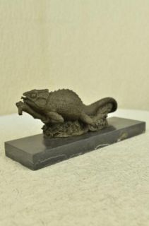 Life Size Chameleons Lizard Reptile Bronze Garde Sculpture Figurine
