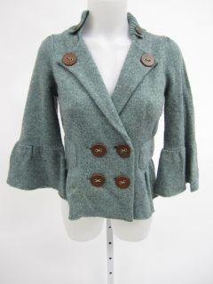 Charlie Robin Green Wool Knit 3 4 Sleeve Cardigan S
