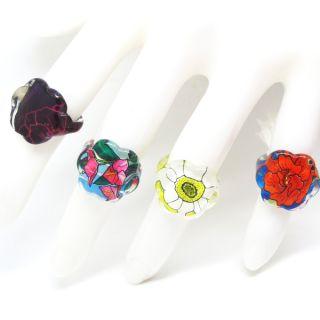 25pcs Flower Charming Style Lucite Resin Children Rings C21