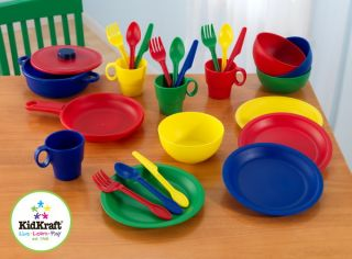 Kids 27 Piece Kitchen Cookware Play Set Multi Color Toy Accessory Set