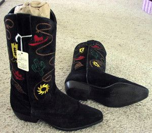 CHILIS WOMENS BLACK SUEDE LEATHER COWBOY WESTERN COWGIRL BOOTS SIZE 8