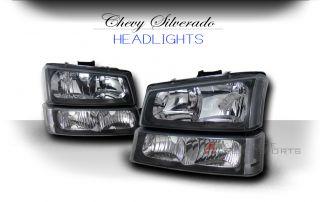 2002 2006 Chevy Avalanche 1500 2500 JDM Black Headlights Bumper Corner