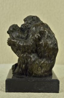 Safari Monkey Mother Baby Chimp Jungle Decor Bronze Marble Statue