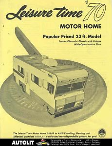 1970 Leisure Time motorhome RV Chevrolet Brochure