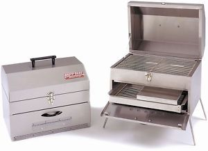 HASTY BAKE 369 PORTABLE STAINLESS STEEL CHARCOAL GRILL   NEW
