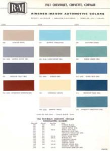 1961 Chevy Paint Color Sample Chips Card Colors
