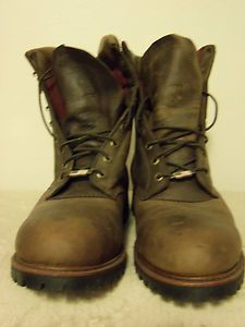 Mens Chippewa 9 Brown Bay Apache Leather Steel Toe Logger Boot Size 11