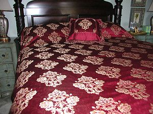Waterford Charlemont QN Duvet 415 New Ruby Red Gold Damask Cover