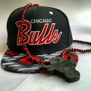 Chicago Bulls Snapback Hat Cap Navajo Brim and Bulls Good Wood NYC Lot