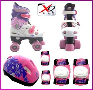 Girls Quad Skates Padded Kids Roller Boots Safety Pads Helmet Skate