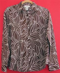 Jones New York Country Chocolate Brown Cotton Shirt Top Womans S