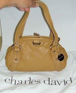 Authentic CHARLES DAVID Satchel Hobo Shoulder Bag Handbag Purse Light