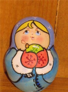 Russian Tiny Nesting Doll Christmas Santa Snowman 5 Art