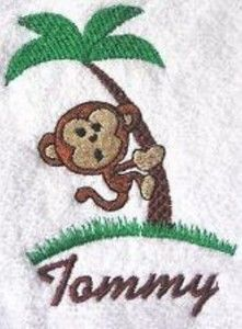 Monkey Towel Kids Jungle Decor with Name New Embroidery