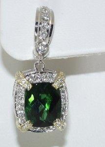 Charles Krypell 18 KT Gold Diamond Tourmaline Earrings