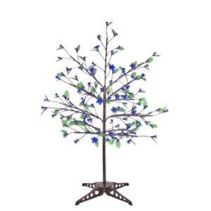 exhart blue led cherry blossom tree w 90 leds leaves