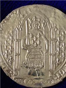 1364 80 France Gold Franc Pied Charles V Damaged But RARE