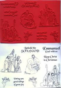 unmounted Religious Christmas rubber stamps Christmas Nativity Set