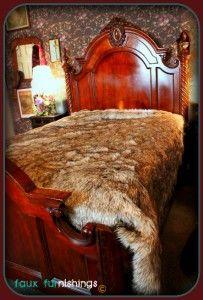 Plush Wolf Bear Skin Bed Spread Faux Fur Accent Sheep Log Cabin Throw