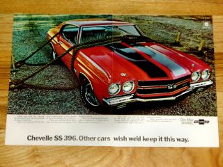 1970 Chevy Chevelle SS Print Ad Poster 396 Big Block V8 Engine Malibu