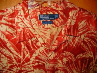 Ralph Lauren Clayton Hawaiian Silk Linen Camp Shirt Size XL EUC