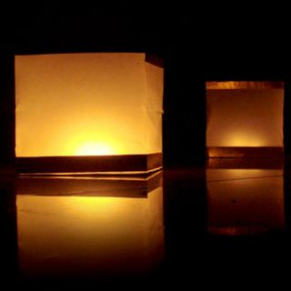 10 Square Floating Chinese Lanterns Wishing Water River Paper Candle