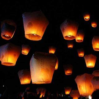 Color Large Lanterns Chinese Paper Sky Candle Wed Flying Party