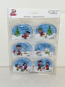 Snoopy Charlie Brown Puffy Snow Globe Christmas Holiday Stickers