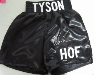 Iron Mike Tyson Autographed/Signed Black Boxing Trunks PSA/DNA