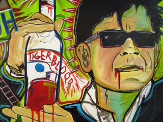 Raeart Charlie Sheen Tiger Blood Painting Unique Art