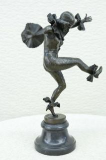 Signed Bronze Statue Art Deco French Columbine Harlequin Dancer Marble