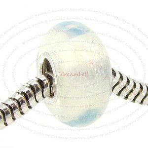 Silver Round White Moon Stone Bead for European Charm Bracelets